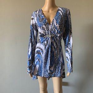 Alberto Makali Blue White Gold Dress/Beach Cover
